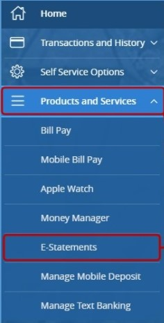 digital banking menu