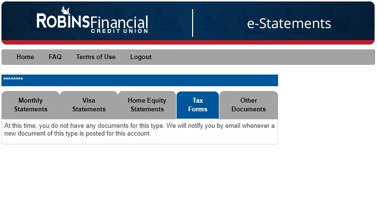 e-statements page in digital banking